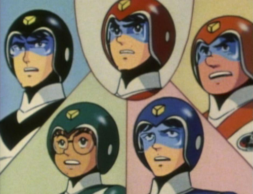 The original Voltron Force pilots from Voltron: Sven (in black), Keith (in red), Hunk (in yellow/orange), Lance (in blue), Pidge (in green)