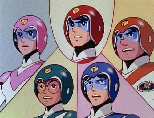 The Voltron Force pilots from Voltron: Princess Allura (in pink), Keith (in red), Hunk (in yellow/orange), Lance (in blue), Pidge (in green)